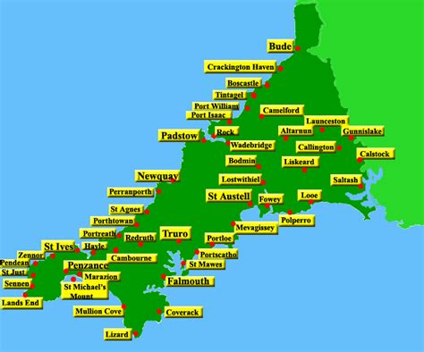 map uk cornwall map of cornwall with towns