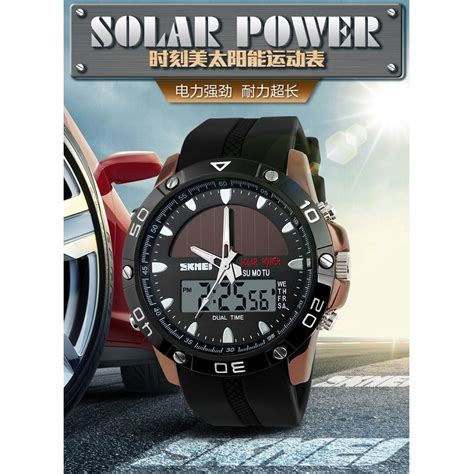 Skmei Solar Power Sport Black skmei solar power sport led water resistant 50m