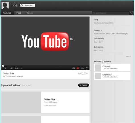youtube channel layout psd youtube templates psd