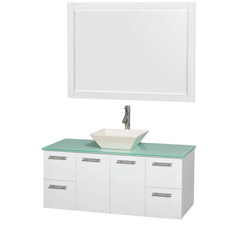 wyndham collection wcr410048sgwggd2bm46 amare 48 inch glossy white green glass countertop pyra
