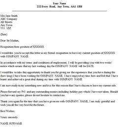 1 Weeks Notice Letter Template One Week Notice Resignation Letter Sample Sample Letter