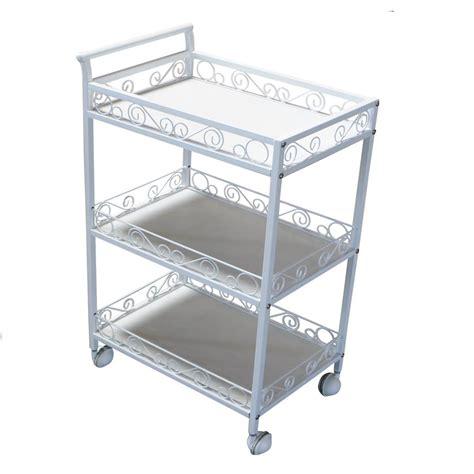 Three Shelf Rolling Cart by 3 Shelf Storage Metal Handle Tray Trolley Rolling