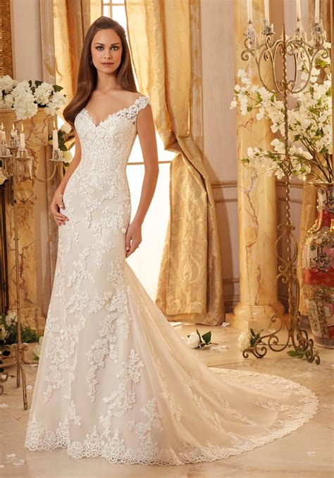 Wedding Gowns by Elegantly Embroidered Lace On Tulle Wedding Dress Style