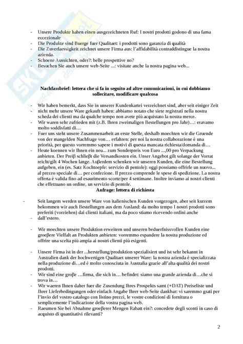 lettere commerciali tedesco lingua tedesca struttura di una lettera commerciale