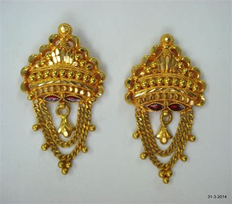 Handmade Jewelry India - traditional design 20k gold earrings handmade jewelry