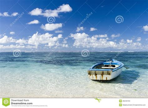 boat view images beautiful mauritius view with blue ocean and boat stock