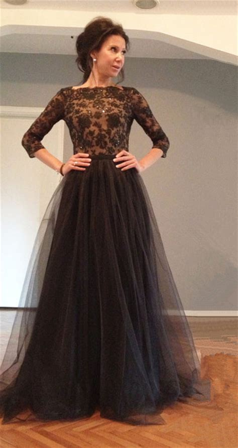 Black 3/4 Sleeve Floor Length Evening Dress Latest Lace Open Back Formal Occasion Dresses TB0121