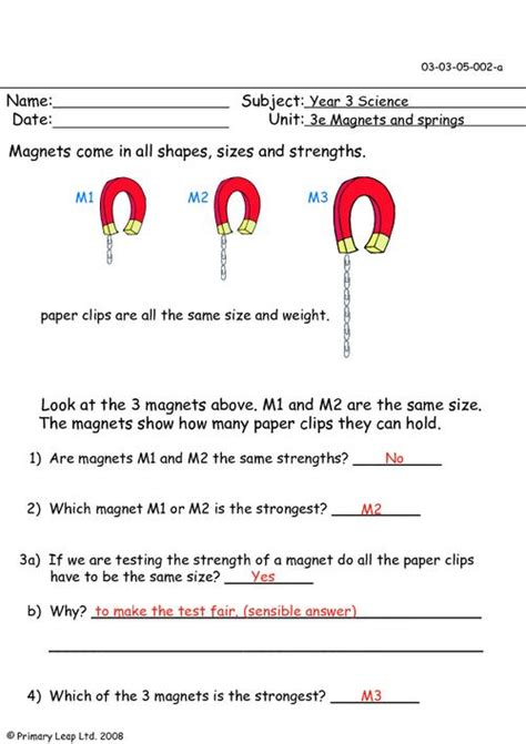 Magnets Worksheet by Magnetic Strengths Primaryleap Co Uk