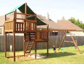 adventurer wooden fort kit with swing set 2 swings advf2