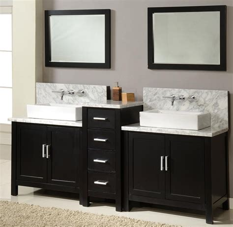 double sink bathroom vanity cabinets 84 quot horizon double vanity sink console with ebony finish white carrera marble and