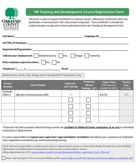 course enrolment form template registration forms in pdf