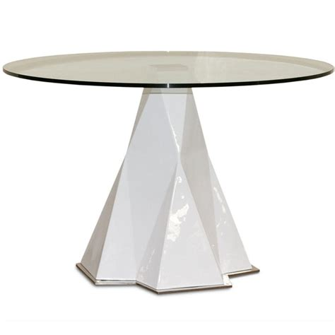 glass top dining table with arctic pedestal base