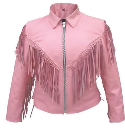 pink leather motorcycle jacket pink leather motorcycle biker jacket with fringe