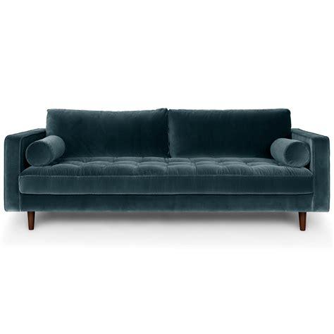 Velvet Modern Sofa Blue Velvet Mid Century Modern Sofa Upholstered Sven Mid Century Modern Furniture Design
