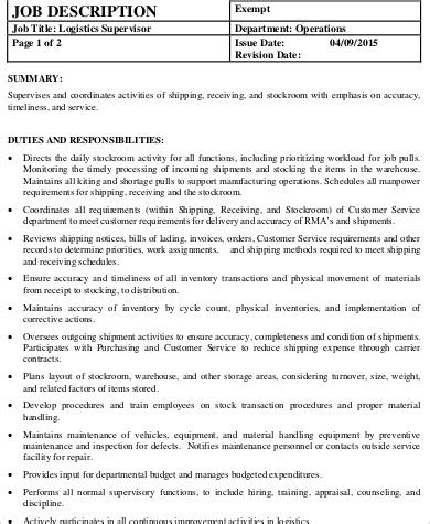 logistics supervisor job description sle 7 exles