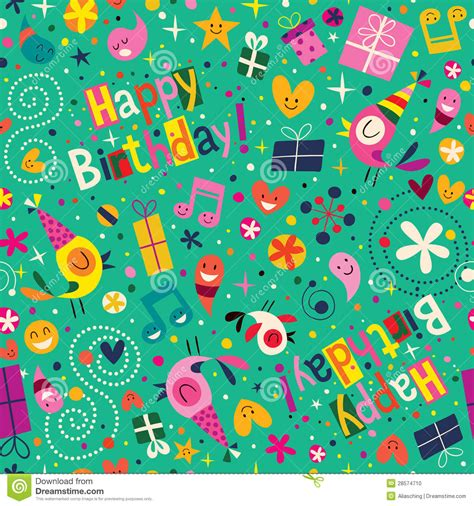 pattern birthday cute happy birthday pattern stock vector illustration of