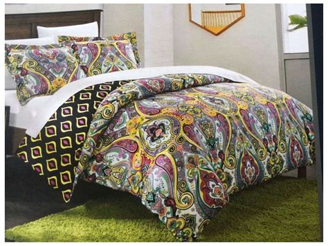 colorful twin bedding new chic home paisley reversible duvet set twin purple
