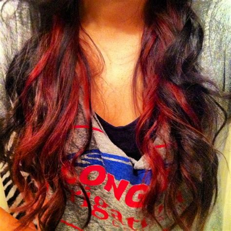 red hair with blue highlights red peekaboo highlights redpeekaboolights redhair
