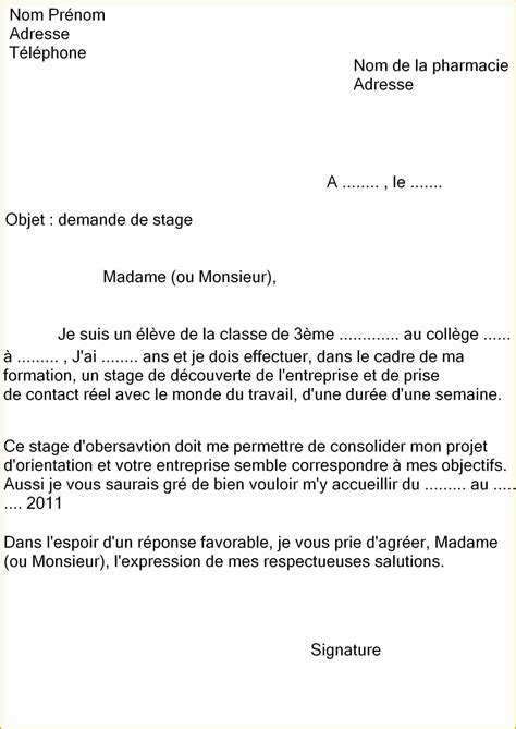 Lettre De Motivation De Base modele lettre de motivation stage decouverte document