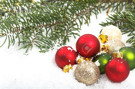 red and green christmas ornaments happy holidays