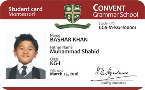 high school student id card template id cards for convent grammer school on behance