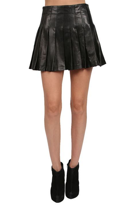 leather pleated mini skirt in black lyst