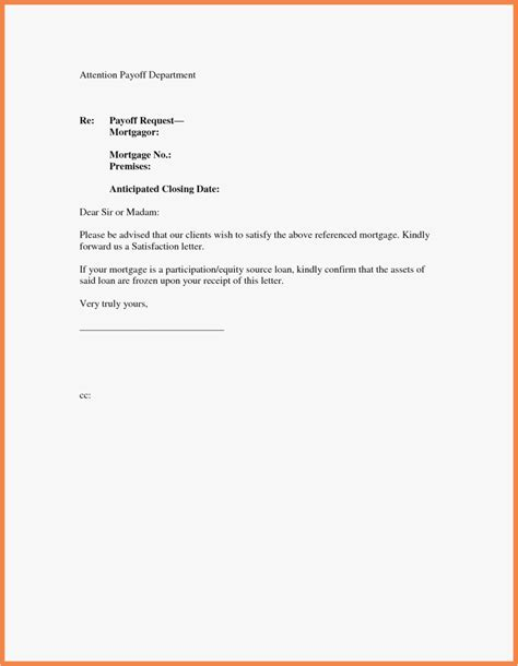 Private Mortgage Payoff Letter Template Exles Letter Template Collection Free Mortgage Statement Template