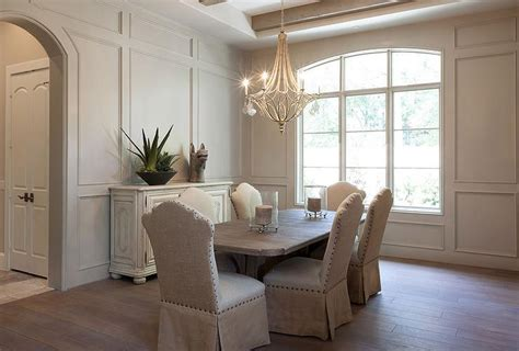 How To Add Wainscoting To A Wall White And Gray Dining Room With Gray Mirrored Buffet
