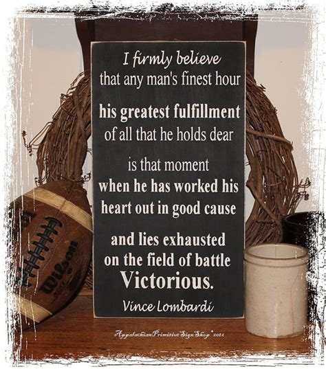 football home decor vince lombardi victorious quote wood sign by
