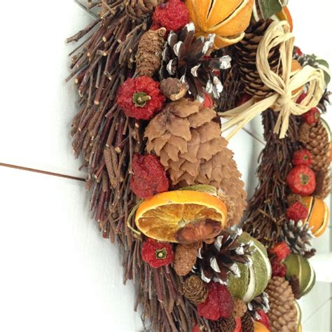 festive heart dried fruit christmas willow wreath medium
