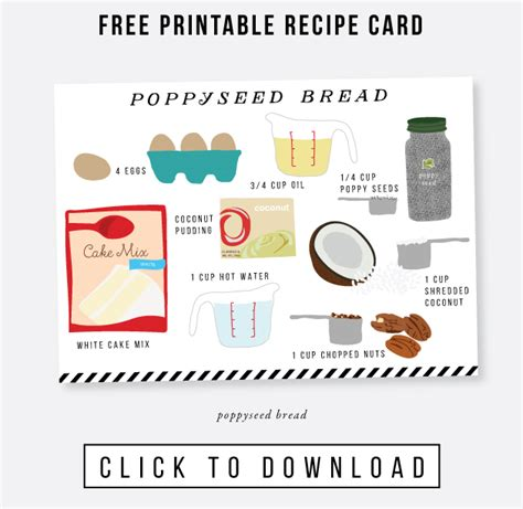 pudding recipe card template easy poppyseed bread recipe free illustrated recipe card