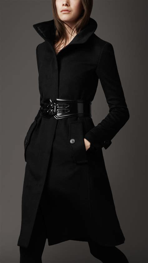 Black Coat lyst burberry blend coat in black