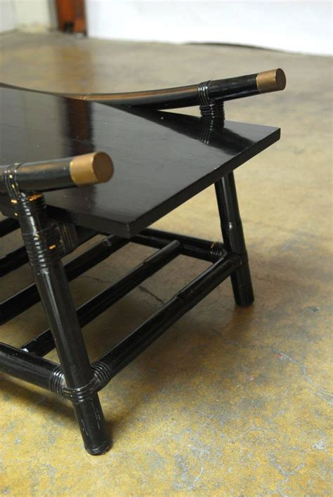black lacquer rattan coffee table and side table