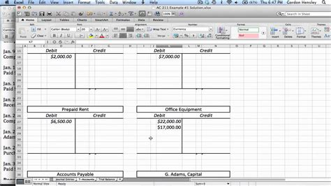 T Accounts Excel Template by Intermediate Journal Entries T Accounts And Trial