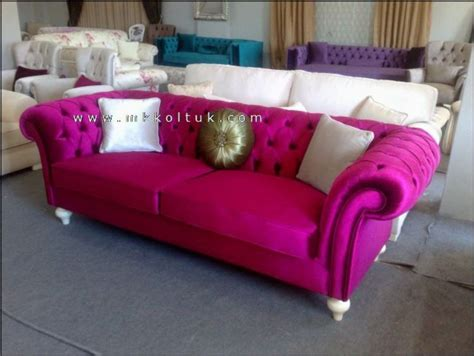Cheap Fabric Sofas Velvet Chesterfield Sofa Purple Blue Pink Bright