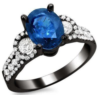 6 50ct Blue Sapphire 2 50ct oval blue sapphire and ring 18k black gold