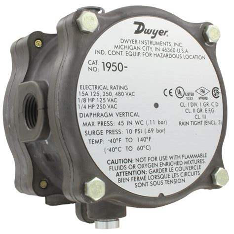 Pressure Switch Pressure Pro Instrument series 1950 explosion proof differential pressure switch applies to hvac processes and all