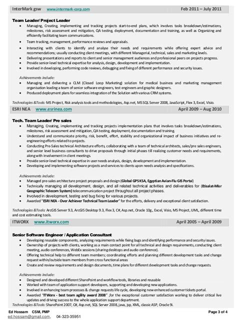 Project Team Leader Sle Resume by Project Team Leader Resume Images