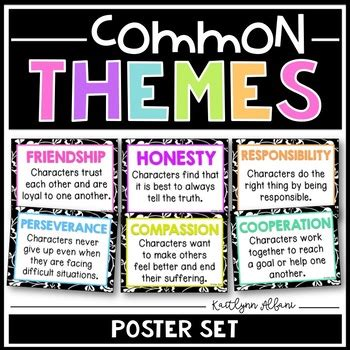 reading themes skills literary themes posters common themes for reading