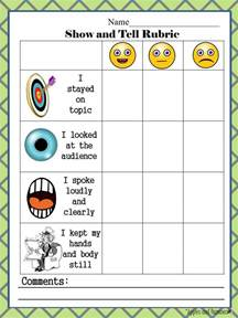 free show and tell rubric great for emphasizing