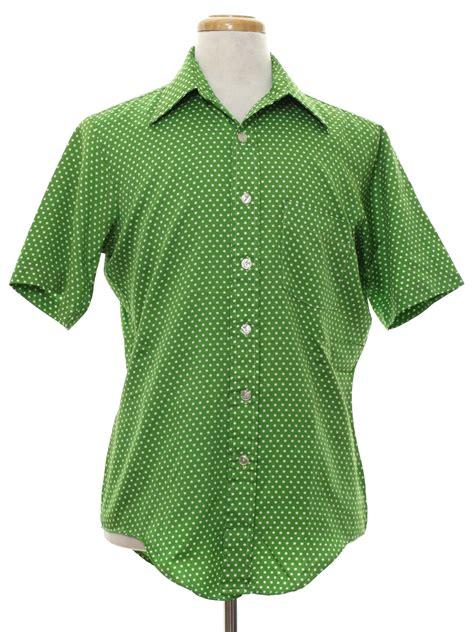 Lime Green Polka Dot Blouse by Vintage 70s Print Disco Shirt 70s Ultressa Mens Lime