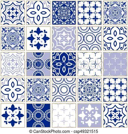 azulejo pattern veector navy blue tiles pattern azulejo portuguese