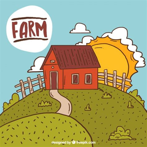 granero vector granero en un paisaje de granja descargar vectores gratis