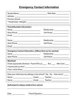 student contact form template student emergency contact form and