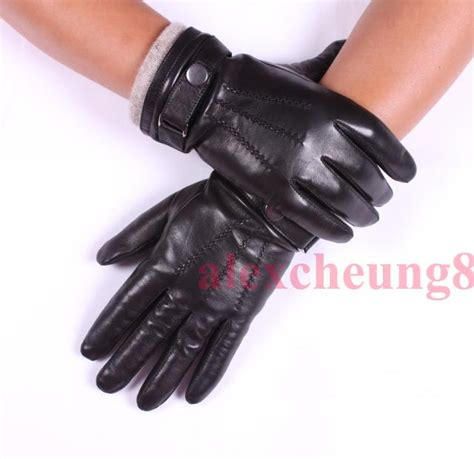 Handmade Leather Gloves - s black deluxe fashion genuine goat leather wrist