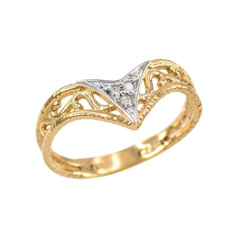Handcrafted Gold Rings - handcrafted s 10k yellow gold cutout filigree