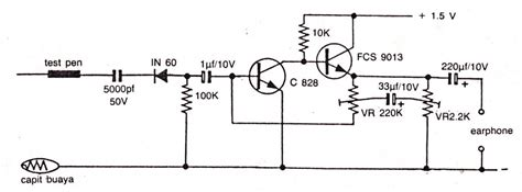c828 transistor simple and sensitive audio detector electronic circuit diagram and layout