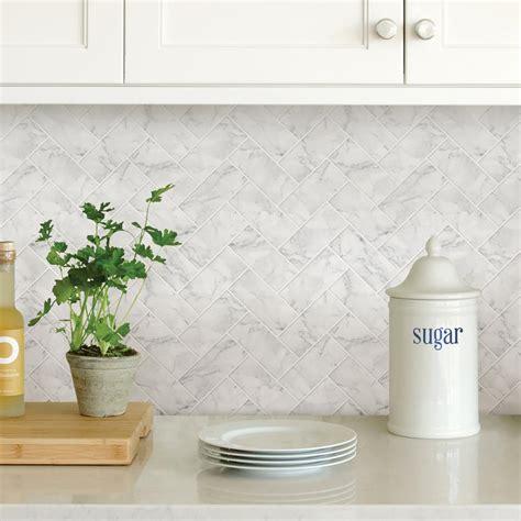 Wallpops white herringbone carrara peel stick backsplash tiles nh2358 the home depot