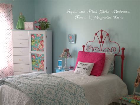 blue and pink girls bedroom girls bedroom w aqua blue pink green with paris accents 11 magnolia lane