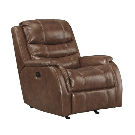 leather glider rocker recliner ashley metcalf leather power rocker recliner in nutmeg